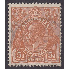 Australian  King George V  5d Brown   Wmk  C of A  Plate Variety 3L31