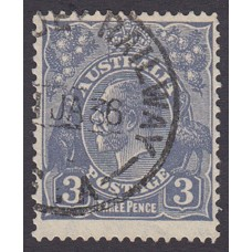 Australian    King George V    3d Blue   C of A Crown WMK  Plate Variety 7L23..