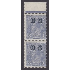 Australian    King George V    3d Blue   C of A WMK   Vertical Pair Overprint O.S. Plate Variety 8L5..