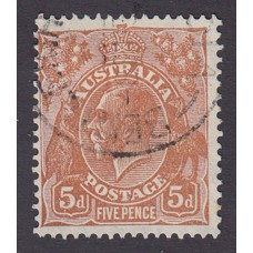 Australian  King George V  5d Brown   Wmk  C of A  Die 2 Plate Variety 3L1..