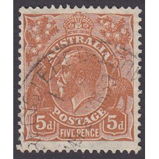 Australian  King George V  5d Brown   Wmk  C of A  Plate Variety 3L7