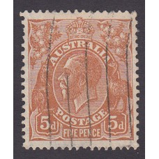 Australian  King George V  5d Brown   Wmk  C of A  Plate Variety 3L7..
