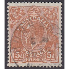 Australian  King George V  5d Brown   Wmk  C of A  Plate Variety 3L25..