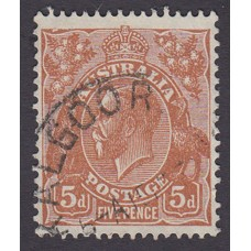 Australian  King George V  5d Brown   Wmk  C of A  Plate Variety 3L56