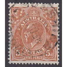 Australian  King George V  5d Brown   Wmk  C of A  Plate Variety 3L56..
