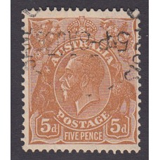 Australian  King George V  5d Brown   Wmk  C of A  Plate Variety 3L57..