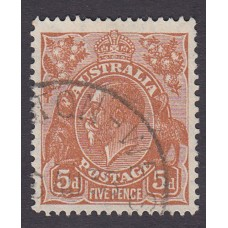 Australian  King George V  5d Brown   Wmk  C of A  Plate Variety 3L57