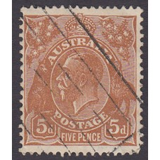 Australian  King George V  5d Brown   Wmk  C of A  Plate Variety 3R20