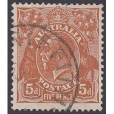 Australian  King George V  5d Brown   Wmk  C of A  Plate Variety 3R20..