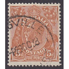 Australian  King George V  5d Brown   Wmk  C of A  Plate Variety 3L10