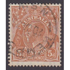 Australian  King George V  5d Brown   Wmk  C of A  Plate Variety 3L10..