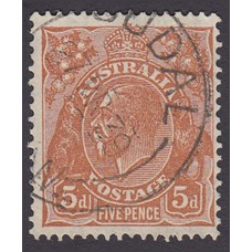 Australian  King George V  5d Brown   Wmk  C of A  Plate Variety 3L19..