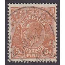 Australian  King George V  5d Brown   Wmk  C of A  Plate Variety 3L19