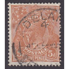 AUstralian  King George V  5d Brown   Wmk  C of A  Plate Variety 3L2