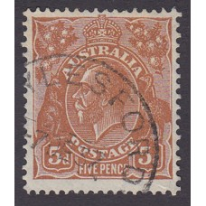 AUstralian  King George V  5d Brown   Wmk  C of A  Plate Variety 3L2..