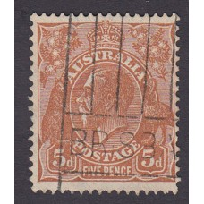 Australian  King George V  5d Brown   Wmk  C of A  Plate Variety 3L20