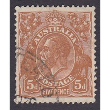 Australian  King George V  5d Brown   Wmk  C of A  Plate Variety 3L20..