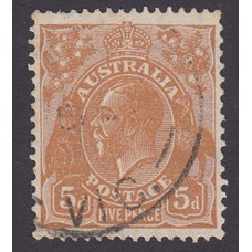 Australian  King George V  5d Brown   Wmk  C of A  Plate Variety 3L21..