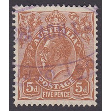 Australian  King George V  5d Brown   Wmk  C of A  Plate Variety 3L22..