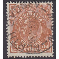 Australian  King George V  5d Brown   Wmk  C of A  Plate Variety 3L23..
