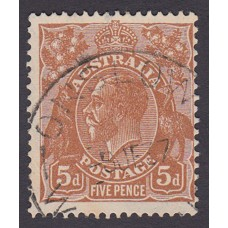 Australian  King George V  5d Brown   Wmk  C of A  Plate Variety 3L24..