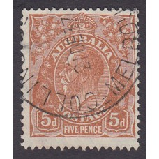 Australian  King George V  5d Brown   Wmk  C of A  Plate Variety 3L3..