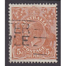 Australian  King George V  5d Brown   Wmk  C of A  Plate Variety 3L32