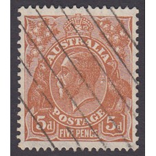 Australian  King George V  5d Brown   Wmk  C of A  Plate Variety 3L37..