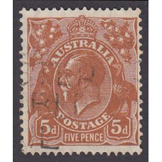 Australian  King George V  5d Brown   Wmk  C of A  Plate Variety 3L40..