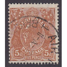 Australian  King George V  5d Brown   Wmk  C of A  Plate Variety 3L41..