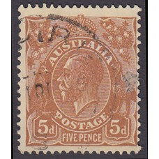 Australian  King George V  5d Brown   Wmk  C of A  Plate Variety 3L47..