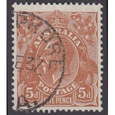 Australian  King George V  5d Brown   Wmk  C of A  Plate Variety 3L49..