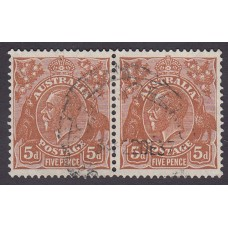 Australian  King George V  5d Brown   Wmk  C of A  Plate Variety 3L50-51 Horizontal Pair..