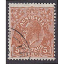 Australian  King George V  5d Brown   Wmk  C of A  Plate Variety 3L50..