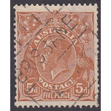 Australian  King George V  5d Brown   Wmk  C of A  Plate Variety 3L55..