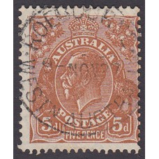 Australian  King George V  5d Brown   Wmk  C of A  Plate Variety 3L58
