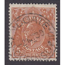 Australian  King George V  5d Brown   Wmk  C of A  Plate Variety 3L59