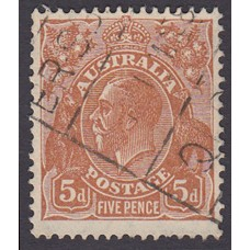 Australian  King George V  5d Brown   Wmk  C of A  Plate Variety 3L59..