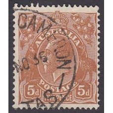 Australian  King George V  5d Brown   Wmk  C of A  Plate Variety 3L8..