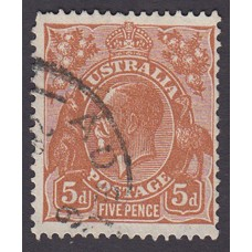 Australian    King George V    5d Brown   C of A WMK   Plate Variety 3R34..