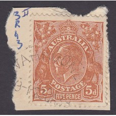 Australian    King George V    5d Brown   C of A WMK  2nd State Plate Variety 3R43..