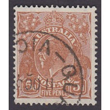 Australian    King George V    5d Brown   C of A WMK  Plate Variety 3R55..