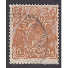Australian  King George V  5d Brown   Wmk  C of A  Plate Variety 3R11..