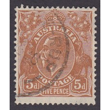 Australian  King George V  5d Brown   Wmk  C of A  Plate Variety 3R12..