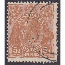 Australian  King George V  5d Brown   Wmk  C of A  Plate Variety 3R13..