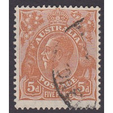 Australian  King George V  5d Brown   Wmk  C of A  Plate Variety 3R17..