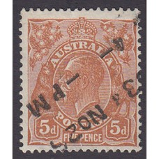 Australian  King George V  5d Brown   Wmk  C of A  Plate Variety 3R18