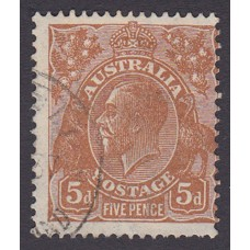 Australian  King George V  5d Brown   Wmk  C of A  Plate Variety 3R18..