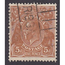 Australian  King George V  5d Brown   Wmk  C of A  Plate Variety 3R21..