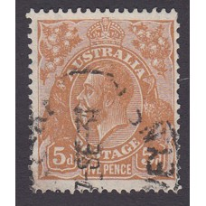 Australian King George V 5d Brown   Wmk C of A  Plate Variety 3R23..